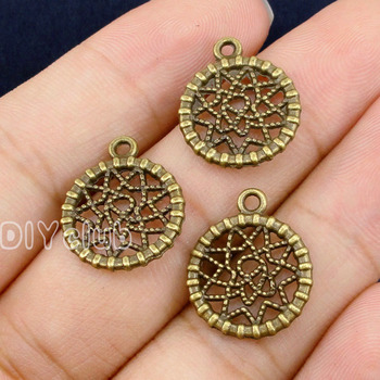 70 adet-Dreamcatcher Charms, antik Bronz Rüya Catcher Charm Kolye 19x16mm